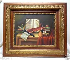"Canvas Oil Painting ""Music Instruments & Books"" w Antique Decorative Frame 28x32"