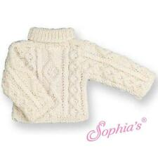 "Irish Cable Knit Pullover Sweater cream off white fit 18"" American Girl Doll"