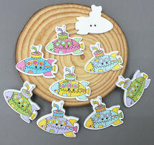 20X Wooden Buttons submarine shape Fit Sewing Mixed scrapbooking crafts 30mm