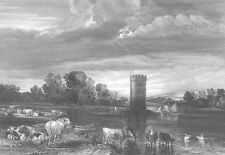 Chesire, TABLEY PARK COWS HORSES CASTLE RUINS by Lake ~ 1851 LANDSCAPE Art Print
