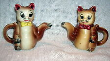 Vintage Brown Teapot Cat Salt & Pepper Shakers