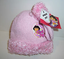 DORA THE EXPLORER Pink Knit 2-PC HAT BEANIE Cap & MITTENS Gloves Glove SET NEW!!