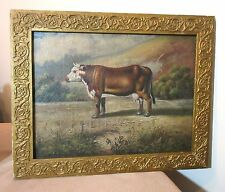 antique 1800's original farm cow farm figural oil painting on canvas framed