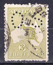 Australia 1918 Kangaroo 3d Olive 3rd Watermark Perf OS Die I Used