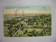 VINTAGE POSTCARD BIRD'S EYE VIEW OF THE UNIVERSITY IN WOOSTER OHIO 1914