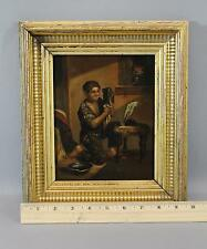 19thC Antique Grand Tour Tin Oil Painting Young Boy Washing Up, Gold Gilt Frame