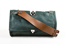 Marni Dark Green Mauve Brown Leather Satchel Shoulder Bag