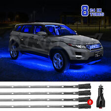BLUE LED Bright 8pc 24in LED Underbody Underglow Undercar Solid Breath Strobe