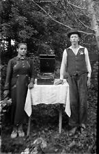 Old Photo.  Romania.  Man & Woman & Record Player