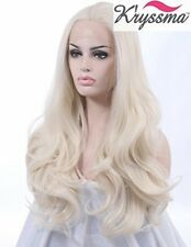 K'ryssma Realistic Wigs White Wavy Lace Front Wig Synthetic Hair Heat Resistant