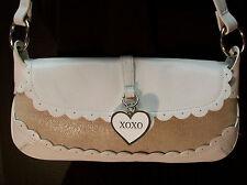 XOXO Hugs & Kisses White Beige Tan Single Strap Shoulder Bag Purse Handbag