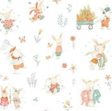 BUNNY TALES RABBITS BUNNIES PLAYING WHITE STUDIO E COTTON QUILT FABRIC
