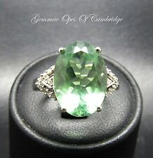 9ct White Gold Oval cut 7ct Green Amethyst and Diamond Ring Size J 1/2 4.24g