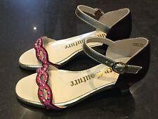 Juicy couture neuf & authentique filles rose sandales en cuir uk 12, eu 31 avec logo