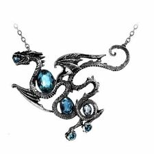 Official Alchemy Gothic Aqua Dragon Pendant - Necklace Jewellery