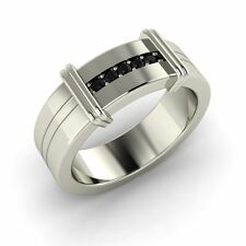 Real Round Black Diamond Men's Wedding Bands Ring in Sterling Silver (0.08 ct)