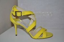 NIB Jimmy Choo LOUISE Crossover Strap Strappy Sandal Heel Shoes Sz 37 - 7 YELLOW