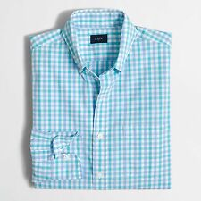 BRAND NEW UNOPENED J.Crew PATTERNED WASHED SHIRT / MEDIUM / FROSTED AQUA