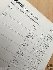 Steyr Puch 500 D, 700 C, 650 TR, TR1, TR2 usw. Bosch Service-Liste von 1967