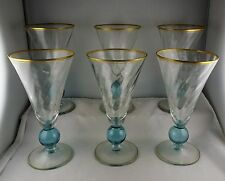 Six Bryce Apollo Cerulean Blue Knop Stem Water Goblets w/ Gold Trim
