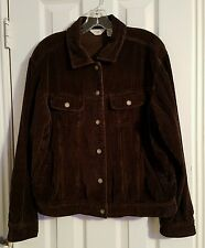 J. Jill Women Dark Brown Wide Wale Corduroy Jean Jacket Size M Unlined