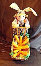 """PLUSH 17"""" EASTER BUNNY PUSHING A WOODEN WAGON  FULL OF CARROTS EASTER DISPLAY"""