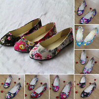 Womens Ballerina Ballet Dolly Pumps Loafers Ladies Floral Flat Shoes Size 3-7.5