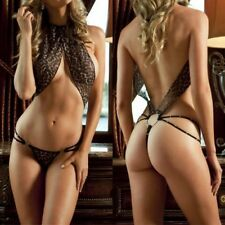 Women Leopard Stripper Sexy Erotic Lingerie Open Bra Crotch Underwear Costumes