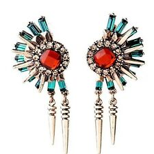 New Red Green Crystal Chain Gold  Spike Statement Stud Dangle Earrings UK Shop