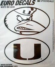 Miami Hurricanes 2-Pack EURO STYLE Oval Home Auto Decals Sticker University of