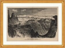 Bad lands Schlechte Gegend am Little Missouri Gronau Canyon USA Holzstich C 0469