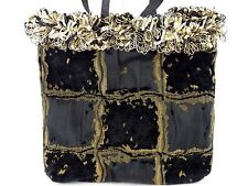 Chocolate Brown Black and Gold Velour Patchwork Tote Bag with Soft Loop Trim