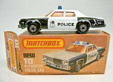 MATCHBOX SF N. 10c Plymouth POLICE CAR BIANCO & NERO IN BOX