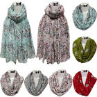 New Womens Scarf Cute Bird Print Long Neck Scarf Voile Wraps Shawl Soft Scarves