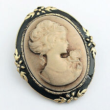 Vintage Cameo Elegant Brooch Pin Antique Wedding Noble Portrait Brooch Pin EF