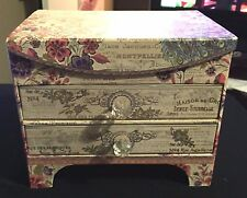 Butterfly Punch Studio Peacock 2 Drawer & Top Jewelry Storage Organizer Box