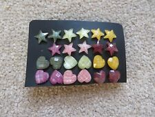 11 x Pairs of Star & Heart Shaped Coloured Earrings