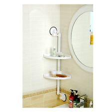 New Suction Cup Bathroom Double Corner Shelf White