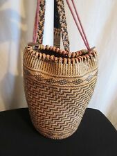 Vtg. Black & Tan Woven Straw Backpack Tote South American Folk Art