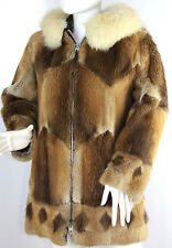 Vintage Canadian Inuit Muskrat Coyote Fur Hooded Parka Coat, Small