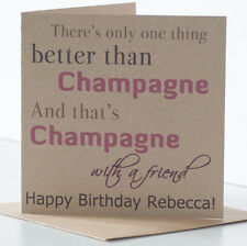 Personalised Rustic Birthday Card. Champagne theme for a special, best friend.