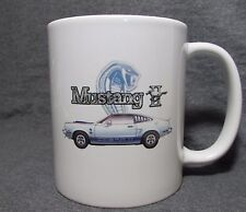 White & Blue Ford Mustang II Cobra II Coffee Cup, Mug -New- 70's Classic - Sharp