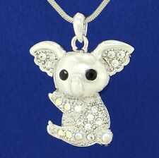 W Swarovski Crystal Koala Bear Cute Australian Animal Pendant Necklace Jewelry