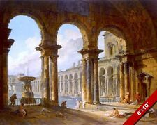 ANCIENT ROMAN BATH BATHS PAINTING ROME ITALY RUINS ART REAL CANVAS PRINT
