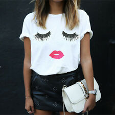 Womens Short Sleeve T-Shirt Ladies Cotton Blouse Casual Loose Tee Tops PLUS SIZE