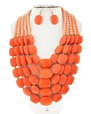 Two Tone Of Peach Faceted Lucite Bead Gradual Chunky Necklace Earring Set