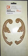 "HALF CIRCLE LEAVES A PAIR WOOD APPLIQUE IN REAL OAK 5 1/2"" X 2"" X 3/16"""