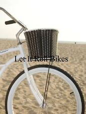 BICYCLE BLACK BASKET FAUX RATTAN WEAVE CRUISER CHOPPER COMFORT BIKES