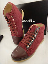 NIB Chanel 15A Red Burgundy Tweed Leather Lace Up CC Cap Sneaker Boot 39.5 $1050