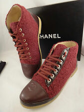NIB Chanel 15A Red Burgundy Tweed Leather Lace Up CC Cap Sneaker Boot 39 $1050